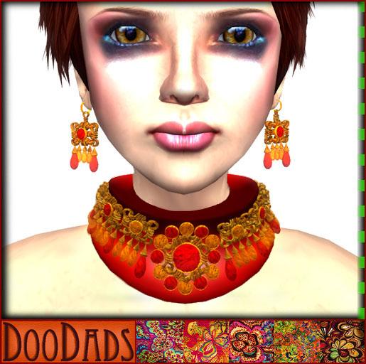 DooDads - Bejeweled Collar & Earrings ~ Red Rubies
